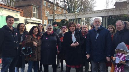 Jeremy Corbyn canvasses with Highbury East Labour members including sitting Cllr Osh Gantly (front,