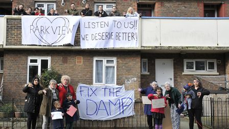'We deserve better': Park View Estate tenants in Highbury protest against years of damp. Picture: Is