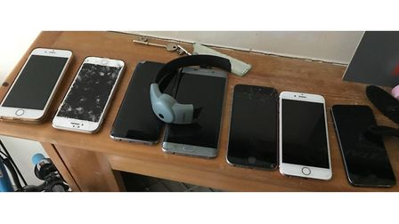 Police also recovered 10 mobile phones thought to have been snatched in moped robberies. Picture: ME