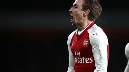 Nacho Monreal celebrates after finding the net for Arsenal (pic: John Walton/PA Images).