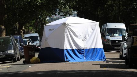 A forensics tent stands in Sunnyside Road, where Dawood was shot. Picture: Jonathan Brady/PA Archive