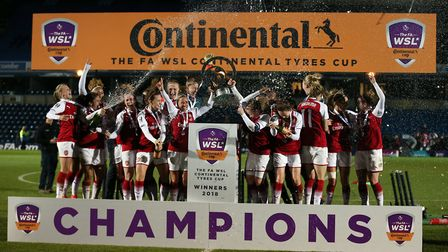 Arsenal Women celebrate winning the Continental Tyres Cup Final (pic Nigel French/PA)