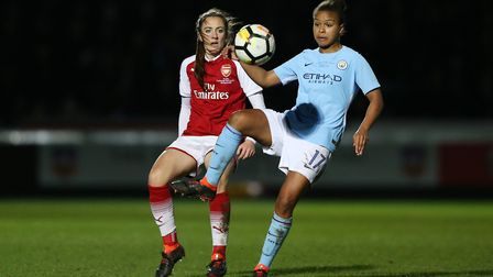 Arsenal's Lisa Evans and Manchester City Women's Nikita Parris (pic Nigel French/PA)
