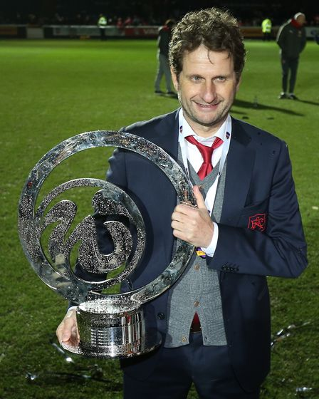 Arsenal Women manager Joe Montemurro celebrates winning the Continental Tyres Cup Final (pic Nigel F