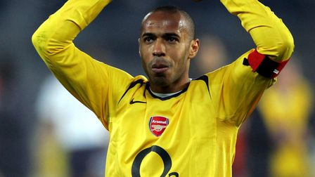 Arsenal's Thierry Henry celebrates going through to the semi-final after their UEFA Champions League
