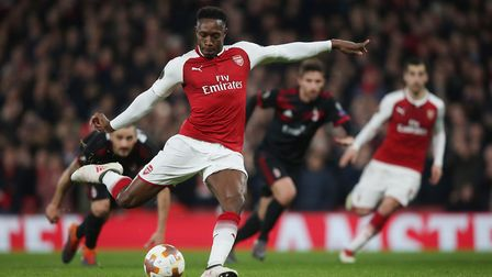 GOAL! Danny Welbeck steps up to equalise from the spot in the Europa League match between Arsenal an