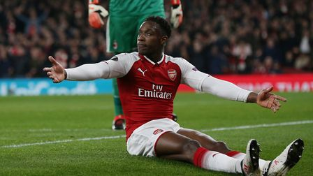 GOAL! Danny Welbeck appeals to the official behind the goal after going down in the box under a chal