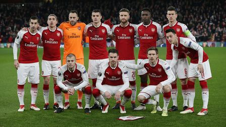 The Arsenal team before the Europa League match between Arsenal and A.C. Milan at the Emirates Stadi