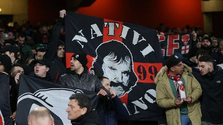 A.C. Milan fans before the Europa League match between Arsenal and A.C. Milan at the Emirates Stadiu