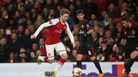 Nacho Monreal bursts into the box in the Europa League match between Arsenal and A.C. Milan at the E