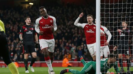 GOAL! Danny Welbeck celebrates scoring his second goal in the Europa League match between Arsenal an
