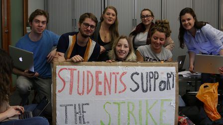 City students at the sit-in yesterday. Picture: Jasper van Emmerik