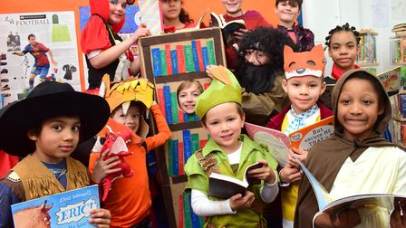 Children from Canonbury Primary School celebrate World Book Day in costume on 01.03.18.