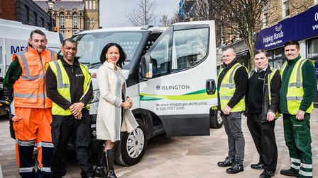 Cllr Claudia Webbe and town hall staff in Archway's Navigator Square with a new van powered by CNG.