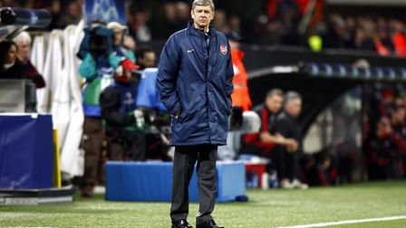 Arsenal's manager Arsene Wenger looks on from the San Siro touchline in 2008 (pic Sean Dempsey/PA)