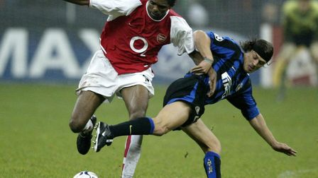 Arsenal's Kanu (left) tussles with Inter Milan's Matias Almeyda at the San Siro in 2003 (pic Nick Po