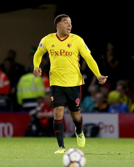 Watford's Troy Deeney celebrates scoring his side's first goal against Arsenal (pic Steven Paston/PA