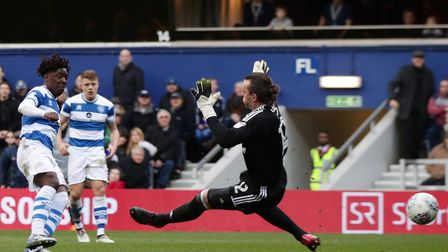 QPR's Ebere Eze scores his side's first goal of the game during the Sky Bet Championship match at Lo