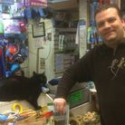 Peanuts and Karl Niblett, owner of Junction Pets in Junction Road, Archway. Picture: Tom Bartley