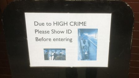 'Please show ID before entering': The sign at Oriental Food in Junction Road. Picture: Tom Bartley