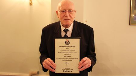 Islington BC founder member Ron Hagland with his Platinum Keystone Award from May 2014 (pic: Reggie