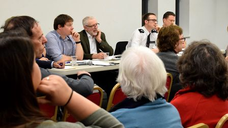 Community leaders, including Islington North MP Jeremy Corbyn, at a public meeting addressing crime