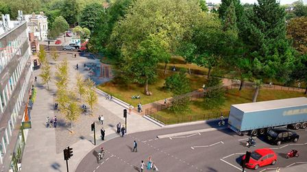 An artist's impression of Highbury Corner with the west side outside the station pedestrianised. Pic