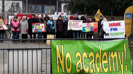 The latest round of strikes at The Village School took place last week. Photo by Brent NEU