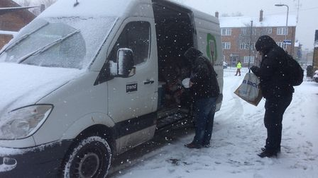 Food For All's distribution van in York Way, King's Cross, during the snow storm last week. Picture:
