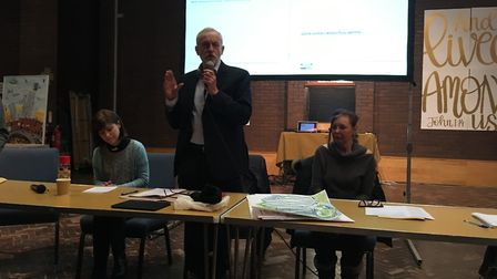 Jeremy Corbyn speaks at the Community Plan for Holloway meeting at St George's and All Saints Church