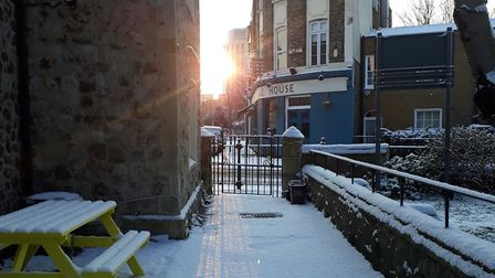 Snow in King Henry's Walk, looking towards Dalston. Picture: Ramzy Alwakeel