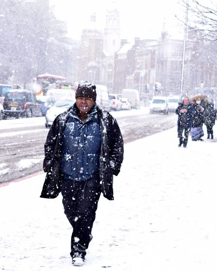 Commuters battle through snow in Upper Street on Wednesday morning. Picture: Polly Hancock