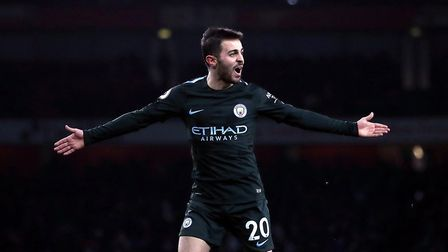 Manchester City's Bernardo Silva celebrates scoring his side's first goal of the game during the Pre