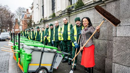 Islington's environment boss Cllr Claudia Webbe, right, with the town hall's street cleaners. Pictur
