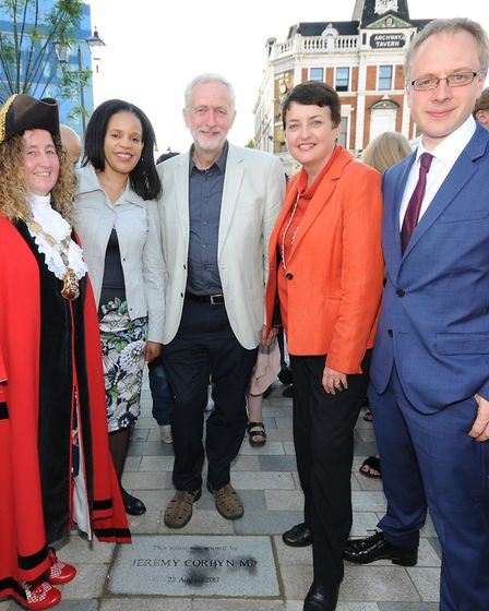 Mayor of Islington Cllr Una O'Halloran, Cllr Claudia Webbe, Jeremy Corbyn MP, Val Shawcross from the