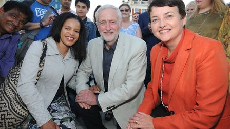 Cllr Claudia Webbe, Jeremy Corbyn MP and Val Shawcross from the London Assembly unveil the pedestria