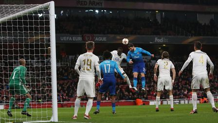 Sead Kolasinac goes up for a corner in the Europa League match between Arsenal vs Ostersunds FK at t
