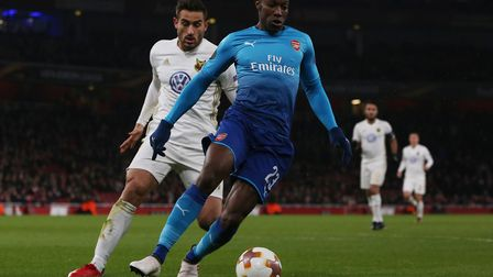 Danny Welbeck holds the ball up in the Europa League match between Arsenal vs Ostersunds FK at the E
