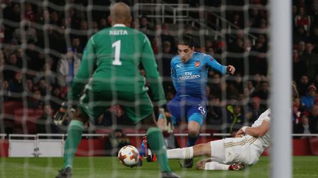 Hector Bellerin sees his shot on goal blocked in the Europa League match between Arsenal vs Ostersun