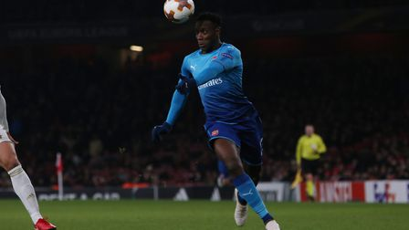 Danny Welbeck tries to break into the box in the Europa League match between Arsenal vs Ostersunds F