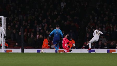GOAL! Hosam Aiesh scores past David Ospina in the Europa League match between Arsenal vs Ostersunds