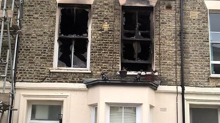 Part of the property in Witley Road, Archway, was destroyed by the blaze. Picture: London Fire Briga