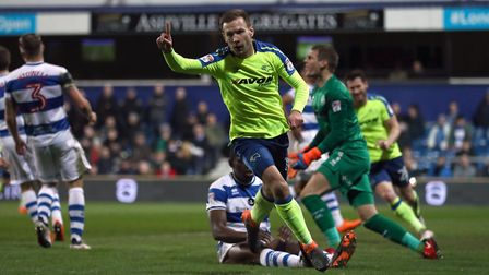Derby County's Andreas Weimann celebrates opening the scoring against Queens Park Rangers (pic: Tim