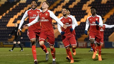 Arsenal's Young Guns celebrate as they beat Colchester 5-1 in the FA Youth Cup. Credit: Arsenal FC