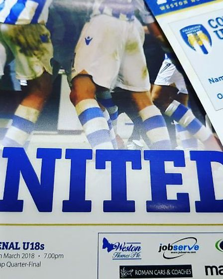 Colchester United v Arsenal FA Youth Cup sixth round programme as the Young Guns won 5-1. Credit: @l