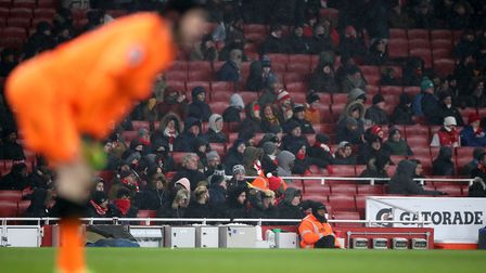 There were thousands of empty seats at the Emirates Stadium during Thursday's game against Mancheste