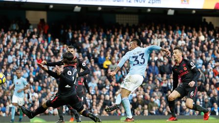 Manchester City's Gabriel Jesus scores his side's third goal of the game during the Premier League m