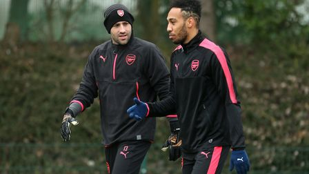 Arsenal goalkeeper David Ospina (left) and Pierre-Emerick Aubameyang (right) during a training sessi