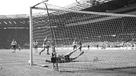 A magnificent save from Luton Town's goalkeeper Andy Dibble prevents Nigel Winterburn from scoring a