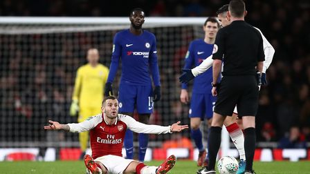 Arsenal's Jack Wilshere appeals during the Carabao Cup semi final, second leg against Chelsea (pic J